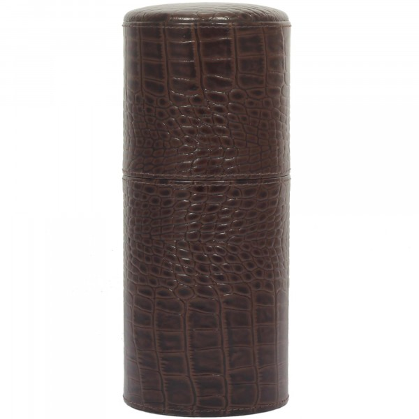 Brizard & Co. Cylindrical Humidor Leder Croco Braun